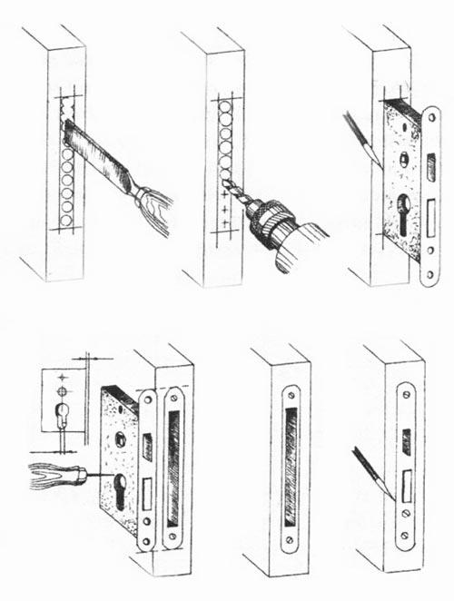 Установка замка в дверное полотно